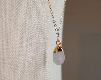 Rainbow moonstone on gold filled chain