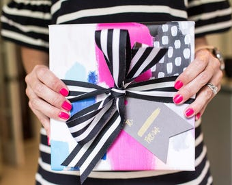 Gift Wrapping Paper - Abstract Hot Pink Dot Set