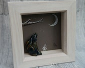 Hare in a Square, Framed Sculpted moongazing Hare Lampwork Bead with Original Drawing