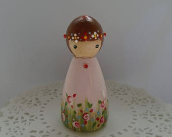 NEW*** Hand Painted Wooden Peg Doll - Rose Garden Theme