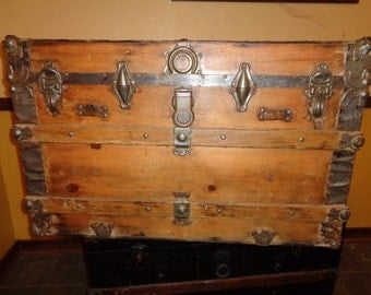 Antique Rustic Chic Steamer Storage Trunk, Restored Rusted  Refinished Wood and Metal Container with wonderful well developed patina
