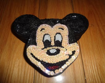 Vintage MICKEY MOUSE SHAPE Hand Beaded and Hand Sewn Sequined Jewelry Trinket Box in Good Condition for the happy-go-lucky child in us all