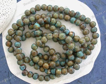 Sale Beads, Closeout Beads, Destash Beads, 8mm Round Green Blue Rust Porcelain Ceramic Clay Beads, Destash Supplies   DS-826