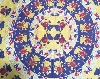 "Vintage Tablecloth Babar Elephant Print Colorful Circus Fabric 81""x 85"""