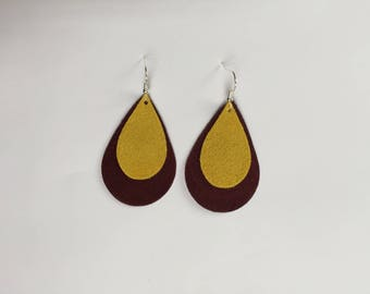 Topper Pride Gold and Maroon Earrings
