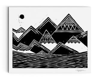 Mountains Print - Nature Inspired - Abstract Tribal Mountains Illustration - Linocut Block Print - Original or Digital Print