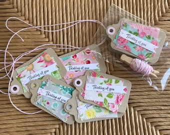 Handmade Gift Tags - Floral Fabric Tags - Cardstock Tags - Set of 6 Kraft Cardstock Tags