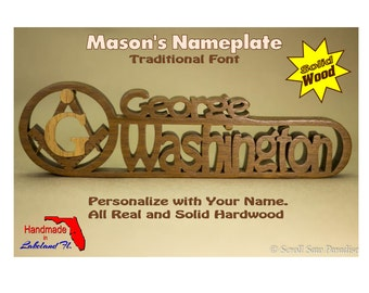 "Mason Nameplate, Square and Compass. Personalized Name with a Traditional Font. Made from Solid Hardwood with a contrasting ""G"" overlay."