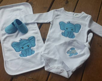 Baby Boy Elephant Coming Home Set ~ Size 0-3 Months ~ READY TO SHIP