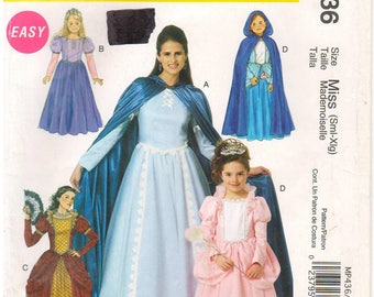 2011 - McCalls 6420 436 Sewing Pattern Adult Sizes 8/10/12/14/16/18/20/22 Easy Costume Theater Dress Gown Cape Princess Queen Halloween