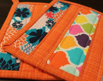 Quilted Pot holder Set, Pink, Orange, Blue, Green, Yellow, Purple, Spring, Hot pads, Potholders, trivet, Kitchen Decor, insulated