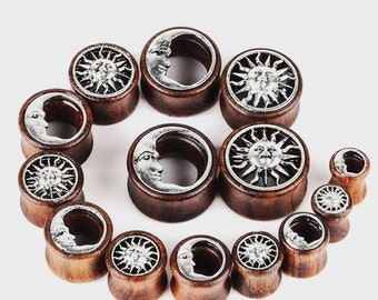 Sun and Moon Wood Gauges Plugs 8mm 10mm 12mm 14mm