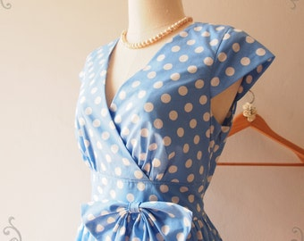 Sleeve Dress, Polka Dot Dress, Vintage Inspired  1950 Dress, Blue Sleeve Dress, Tea Party Dress, Blue Summer Sundress - FLAWLESS -Size S