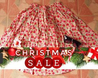 Christmas SALE Red Rose Floral Skirt -Midi Skirt Mid Skirt- Summer Garden Beach Time Skirt - - Floral Skirt - Kitsch Skirt - Dancing Skir...