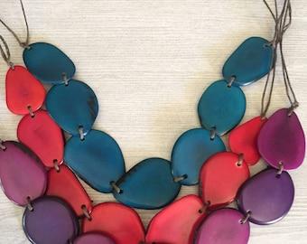 Jewel toned Tagua Nut Adjustable Necklace