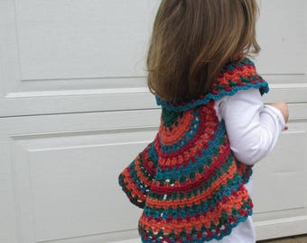 Boho baby crochet spring fall circle hippie vest.  Retro style baby fall circle vest.  Ready to ship toddler vest.  2T to 3T size.