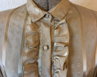 Vintage 80s Gold Blouse Metallic Ruffle Secretary Large