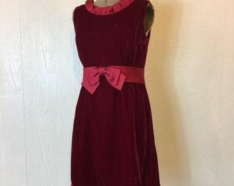 SALE - Vintage 1960s Red Velvet Cocktail Dress Minidress Medium Large