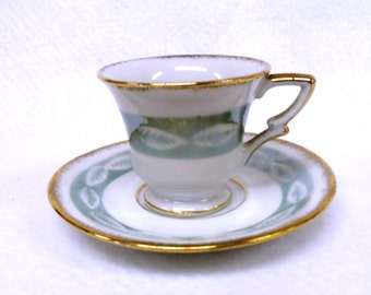 Demitasse Cup and Saucer Set, Aqua and White, Lusterware, Marked Richard Japan