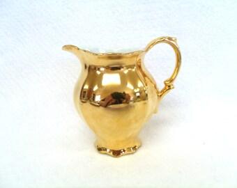 Gold Creamer, Bareuther Waldsassen, Bavaria, 3.5 Inch, Pattern BTH199