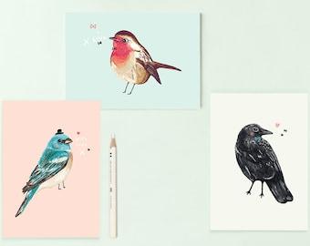 Set of 3 Bird Illustration Postcards - Blue Bird - Robin - Crow