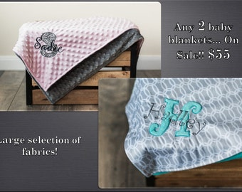 ON SALE! Any 2 Personalized Baby Blankets, Minky Plush Pink, Teal, Grey, Baby Boy or Girl Monogrammed Gift