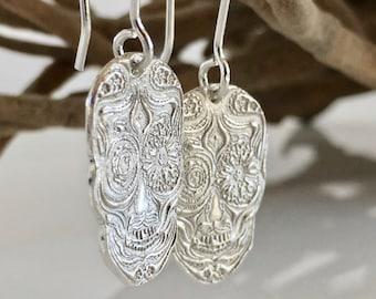 Day of the Dead Earrings #3. Dia de los Muertos Earrings. Silver Sugar Skull Earrings. Sugar Skull Jewelry. Halloween/Gothic skull.