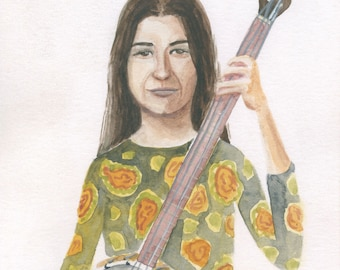 Karen Dalton Portrait - watercolor art