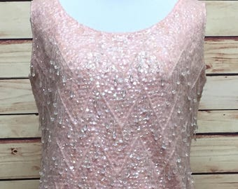 Vintage Pink Iridescent Sequin Beaded Tank Shell 60s