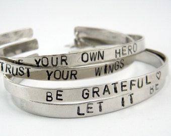 Inspiration quote bracelet Personalized silver bracelet Custom quote hand stemped bracelet