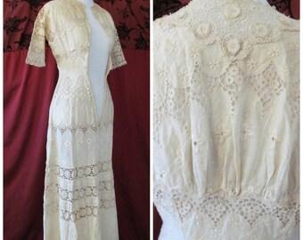 Antique Edwardian Dress Cotton Ecru Irish Crochet Eyelet Lace Button Up 3/4 Length Sleeves Size XXS / Teen 12 14