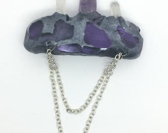 Hand Sculpted Clay with Raw Quartz and Amethyst accented with a Silver Colored Metal Chain Hair Clip