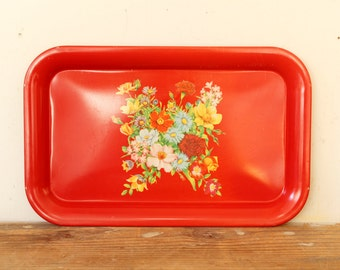 Vintage Metal Tray Red Floral Yellow Blue Red Flowers Display Decor TV Tray Serving