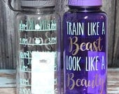 Train Like a Beast Look Like a Beauty Inspirational Personalized 34oz Tritan Sports Water Bottle with Hourly Reminder Times