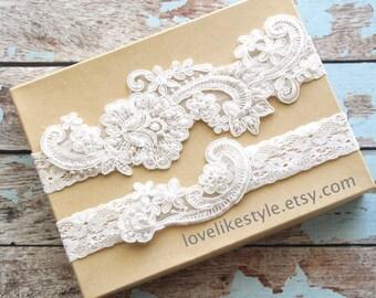 Wedding Garter Set, Light Blue Pearl Beaded Lace Wedding Garter Set, Ivory Lace Garter Set, Lace Wedding Garter Belt, Style No. GT-53