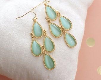 Mint Green Chandelier Earrings , Bridal Earrings, Bridesmaid Earrings, Green Earrings,Birthday Gift, Prom Earrings