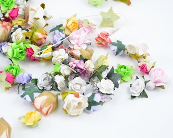 36 Grab Bag Paper Flowers -Color Assorted Small Paper Flowers -Mix Colors Small Flowers