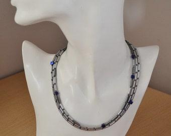 Hematite Metallic Silver, Grey and Purple Necklace