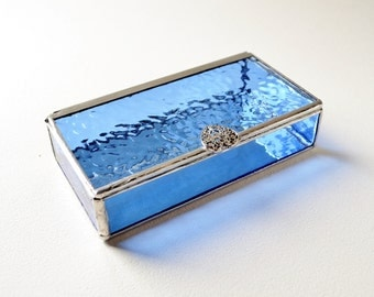 Blue Glass Box, Blue Stained Glass Box, Glass Display Box, Glass Jewelry Box, Wedding Display Box, Jewelry Box, Gift For Girlfriend