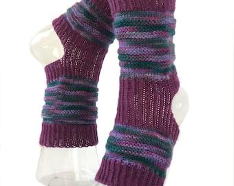 Yoga Hand Knit Socks, Purple Lover Hand Knit Yoga Socks,  Pilates Socks, PiYo-Dance-Pedicure Sox, Slipper Socks, Boho Socks, Hipster Sox