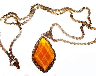 """Art Deco Amber Orange Pendant Necklace Diamond Facets Fleur De Lis Gold Chain 30"""" Vintage"""