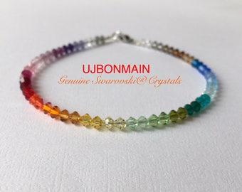 Swarovski Crystal Anklet, ALL Sizes, rainbow color anklet, spectrum anklet, roygbiv anklet, colorful anklet, Sterling or 14k Gold filled