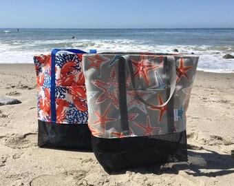 Mesh Caribbean Beach Tote Bag, Large Beach Tote Bag, Sand Free Beach Bag, Reusable Multi Purpose Beach Tote, Reusable Tote Bag