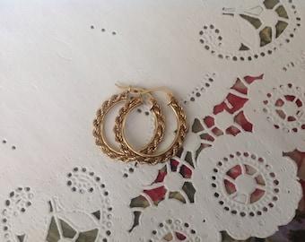 Vintage 10kt Yellow Gold Rope Hoop Earings, gold rope Earings, Gold Hoop earings