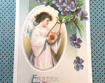 Sweet Edwardian Era Easter Postcard with Angel Playing Harp and Violets