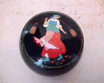 Charming Vintage Hand Painted Russian Folk Art Trinket Box