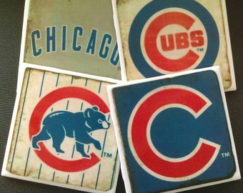 Chicago Cubs Set of Drink Coasters, Great Gift Idea, Man Cave, Baseball, Great Gift Idea