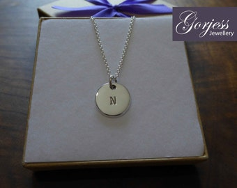 Initial Stamped Letter H Silver Pendant Necklace