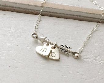 Arrow Necklace, Sterling Silver Arrow Initial Necklace, Heart and Arrow Necklace, Personalized Gift, Custom Arrow Necklace, Everyday Jewelry