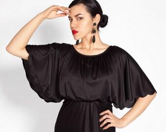 1980's Black Shawl Dress